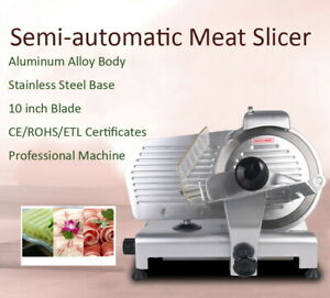 Semi automatic Commercial Meat Ham Cheese Food Slicer 10 Thickness Adjust 110v