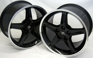 17 Black Mustang Cobra R Replica Wheels Staggered 17x9 17x10 5 5x114 3 94 04