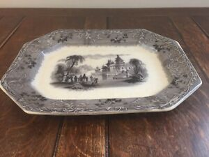 Antique T J J Mayer Rhone Scenery Transferware Staffordshire Platter C1850