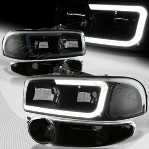 For 2002 2007 Gmc Sierra 1500 Denali Drl Led Black Smoke Clear Headlights Bumper