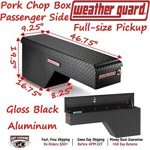 171 5 01 Weather Guard Black Aluminum Pork Chop Box Truck Toolbox Passenger Side