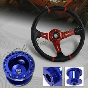For 93 06 Nissan Altima 350mm Red Carbon Pvc Steering Wheel Blue Aluminum Hub
