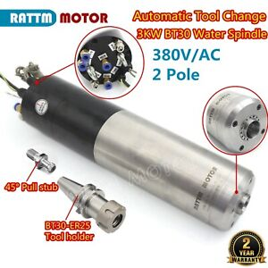 3kw 380v Bt30 Automatic Tool Change Water Cooled Atc Spindle Motor Milling 400hz