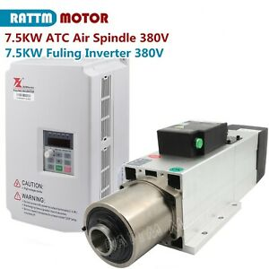 7 5kw Iso30 Atc Automatic Tool Change Air Cooled Spindle 800hz 380v inverter Vfd