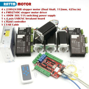 Usb Cnc Controller Kit 4 Axis Nema23 Stepper Motor 425oz in Fmd2740c Drivers