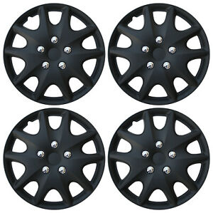 4 Pc New Hub Caps Abs Matte Black 15 Inch Rim Wheel Skin Cover Cap Covers