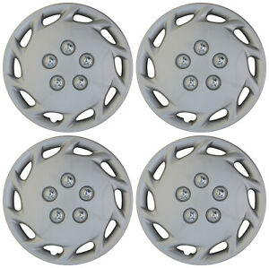 4 Piece Set Hub Caps Abs Silver 14 Inch For Oem Steel Wheel Cover Cap Covers