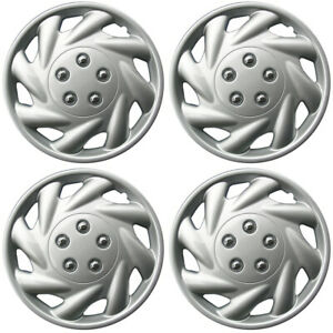 4 Piece Set Hub Caps Abs Silver 15 Inch For Oem Steel Wheel Cover Cap Covers