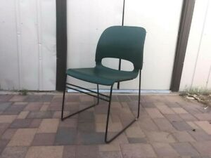 Twelve Miller Sqa Green Stacking Office Chairs