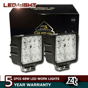 Pair 4inch 48w Cube Flood Beam Led Work Light Driving Fog Lights Front Bumper 6