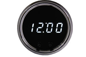 2 1 16 Universal Automotive Digital Clock White Led Gauge Chrome Bezel Usa Made