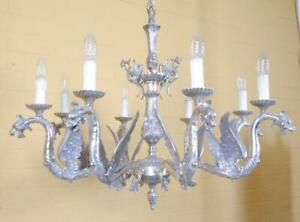 Gorgeous Heavy Vintage Eight Light Chandelier With Dragon Figures