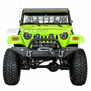 Rock Crawler Front Bumper winch Plate 2x Led 2xd ring For 97 06 Jeep Wrangler Tj