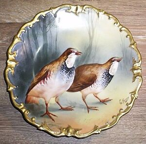 Large Hand Painted Limoges France Game Birds Quail Charger Signed G Hosier