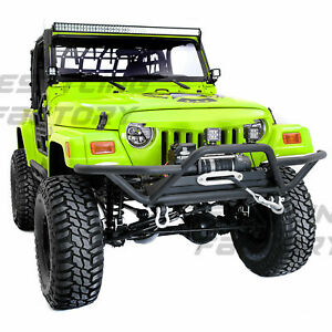 Black Tubular Rock Crawler Front Bumper winch Plate For 97 06 Jeep Wrangler Tj