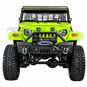 Rock Crawler Stubby Front Bumper Winch Plate 2x Led For 97 06 Jeep Wrangler Tj