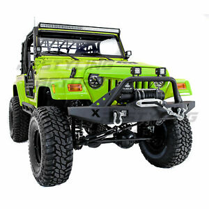 X rock Crawler Front Bumper winch Plate 2x D rings For 97 06 Jeep Wrangler Tj