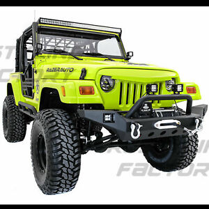 Rock Crawler Super Hd Front Bumper winch Plate 2x Led For 97 06 Jeep Wrangler Tj