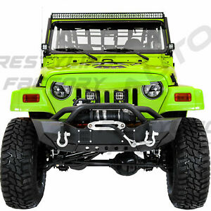 Heavy Duty Front Bumper winch Plate led Mount d rings For 97 06 Jeep Wrangler Tj