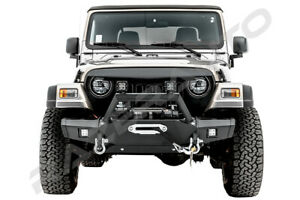 Rock Crawler Front Bumper winch Plate 2x Led Lights For 97 06 Jeep Wrangler Tj