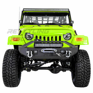 Front Bumper winch Plate 2x Led 21 Led Light Bar For 97 06 Jeep Wrangler Tj