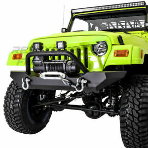 Rock Crawler Front Bumper Winch Plate 2x D Rings For 97 06 Jeep Wrangler Tj