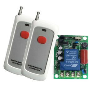 220v Wireless Rf Remote Control Relay Switch Receiver With 2 Transmitters