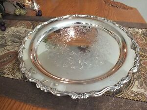 Heavy 15 Wm A Rogers Silverplate Tray W Raised Scroll Edge Engraved Pattern