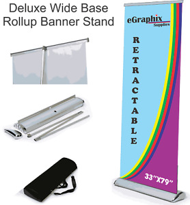Deluxe Retractable Roll Up Banner Stand display 33 X 79 W Free Shipping