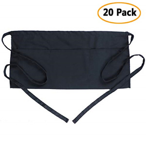 Boharers Waist Apron With 3 Pockets 20 Pack Black Waitress Waiter Server Half X