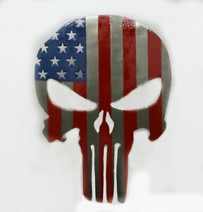 Powder Coated Steel Punisher Trailer Hitch Cover Insert American Flag