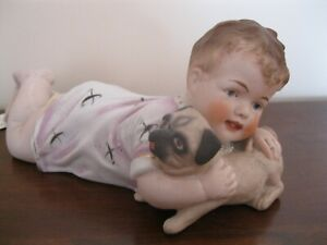 S17 Antique Bisque Piano Baby Child Holding Pug Dog Figurine China Porcelain