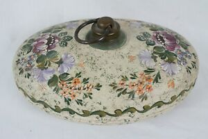 Vintage Hand Painted Floral Design Brass Hot Water Foot Bed Pillow Warmer Rare