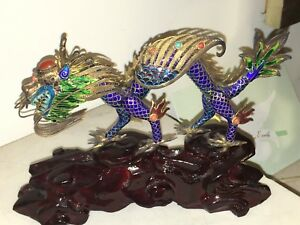 Amazing Chinese Silver Enamel Dragon Sculpture Figure