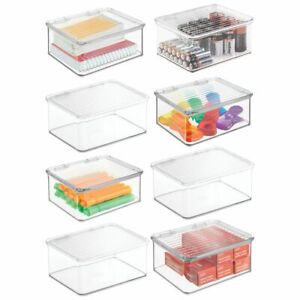 Mdesign Plastic Stackable Home Office Supplies Storage Box Lid 8 Pack Clear