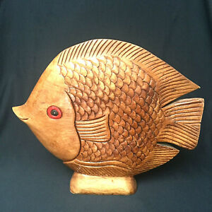 Fish Folk Art Hand Carved Freestanding Mantle Wooden Large 14 Inches