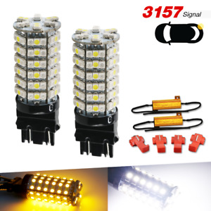 2x 3157 White Amber Switchback Drl Turn Signal Parking Led Light Bulbs Resistors