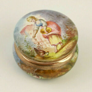 Antique French Enamel On Copper Hinged Snuff Box Hand Painted Miniature Portrait