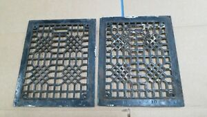 2 Cast Iron Grate Vent Covers Craftsman Victorian Wall Floor Matching Pair