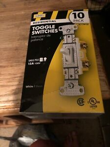 Hubbell Rs115w 10 pack Single Pole Toggle Switch 15a 120v With 1g Midsize Plate