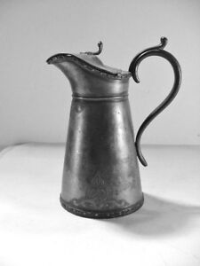 Antique Pewter Syrup Pitcher Creamer Jug Embossed With Hinged Lid Very Old