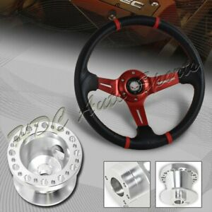 For 90 93 Acura Integra 350mm Red Carbon Pvc Steering Wheel Silver Aluminum Hub