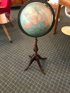 Antique 1940 S World Globe On Wood Stand