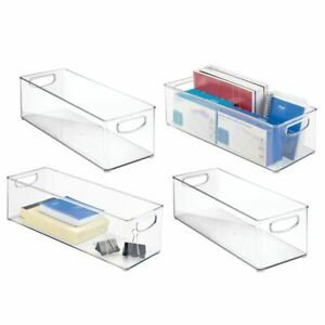 Mdesign Stackable Plastic Home Office Storage Bin With Handles 4 Pack Clear