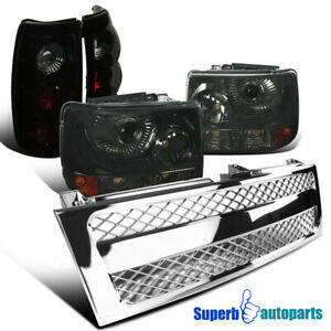 For 99 02 Silverado Smoke Projector Head Lights Glossy Black Tail Mesh Grille