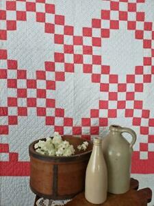 Farmhouse Perfect Antique 1880s Cinnamon Red Or Pink White Irish Chain Quilt