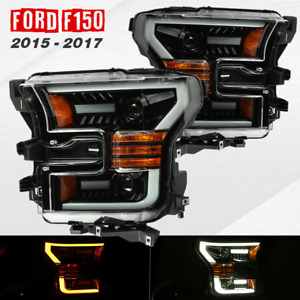 2015 2017 F 150 Led Tube Drl Switchback Gloss Black Projector Headlight Assembly
