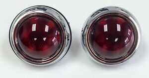 Hot Rod 1950 Pontiac Style Glass Lens Tail Lights Pair Rat Rod