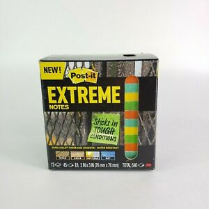 3m Post it Extreme Notes 3 In X 3 In Orange Green Yellow Mint 12 Pads Per Pack