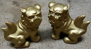 Pair Of Vintage Porcelain Painted Foo Dogs 6 Tall
